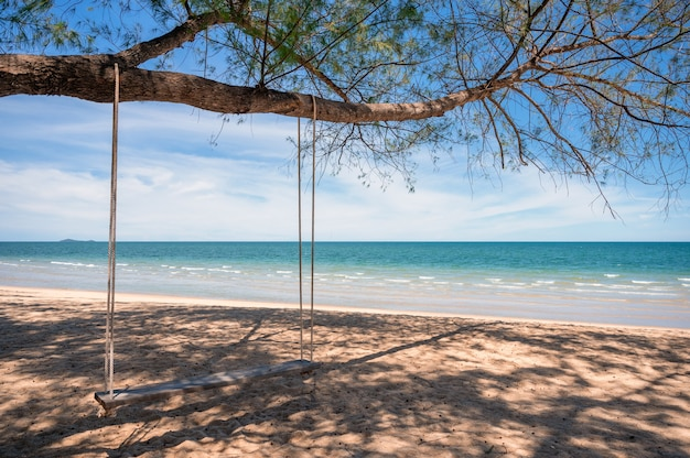 Balançoire en bois accrochée à un arbre sur la plage en mer tropicale.