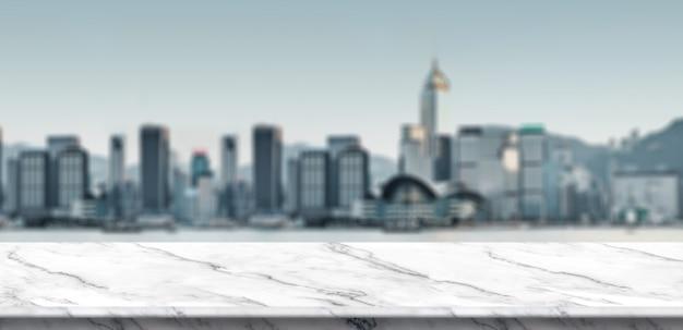 Balcon de marbre blanc vide à flou vue paysage urbain bâtiment à concours complet