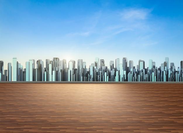 Balcon sur le toit de rendu 3d avec fond de paysage urbain