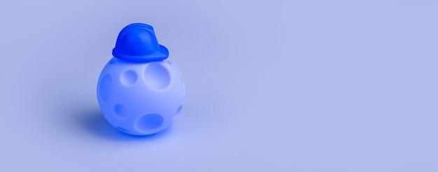 Balle avec cratères en forme de planète en casque sur bleu