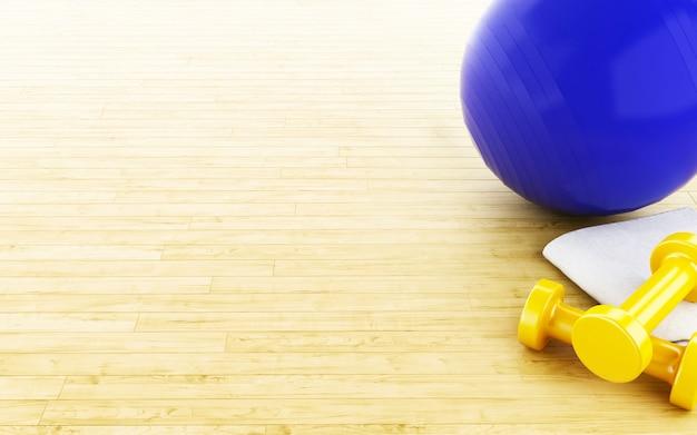 Balle de fitness 3d et poids.