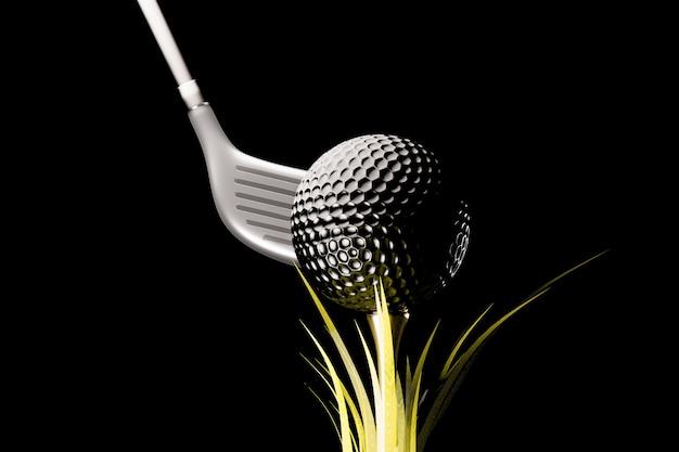 Balle de golf en fond noir