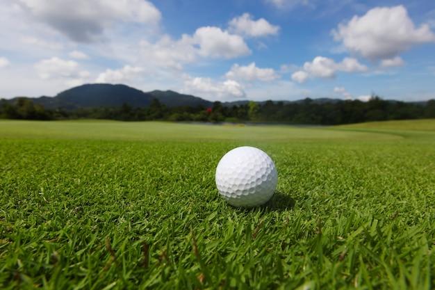Balle de golf sur l'herbe de parcours vert se bouchent et le drapeau