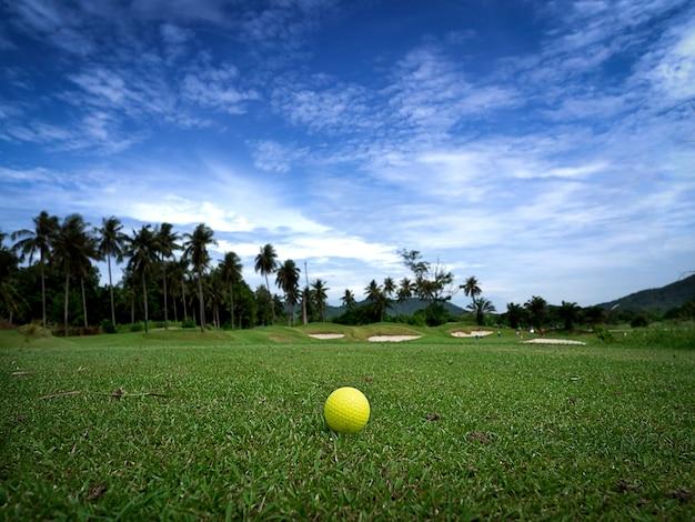 Balle de golf jaune sur beau tee avec fond de ciel du matin