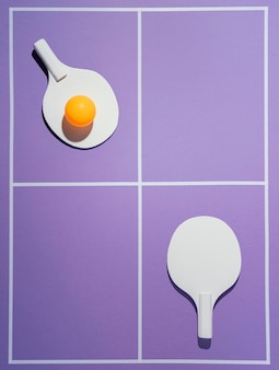 Balle et pagaies de badminton vue de dessus