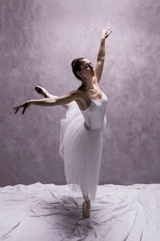 Ballerine vue de côté effectuant une troisième arabesque