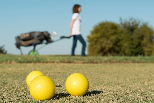 Balles de golf en gros plan