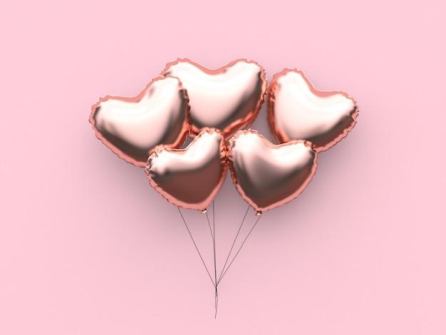 Ballon abstrait coeur métallique saint-valentin