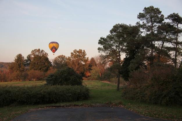 Ballon à air chaud coloré dans le ciel au-dessus des arbres et des champs couverts d'herbe