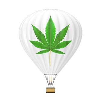 Ballon à air chaud avec la marijuana médicale ou le signe de feuille de chanvre de cannabis sur un fond blanc. rendu 3d