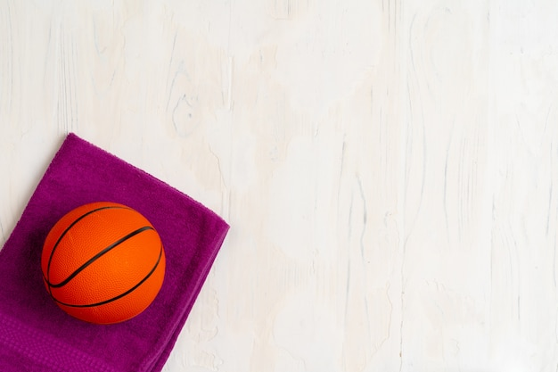 Ballon de basket, vue de dessus