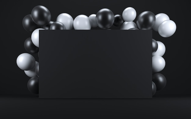 Ballon blanc et noir dans un intérieur noir autour d'un tableau noir. rendu 3d