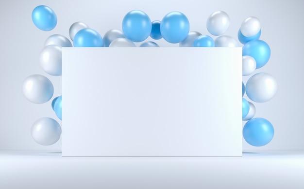 Ballon bleu et blanc dans un intérieur blanc autour d'un tableau blanc. rendu 3d