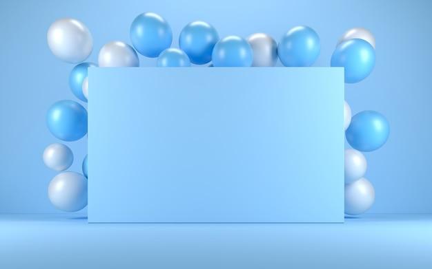 Ballon bleu et blanc dans un intérieur bleu autour d'un tableau bleu. rendu 3d