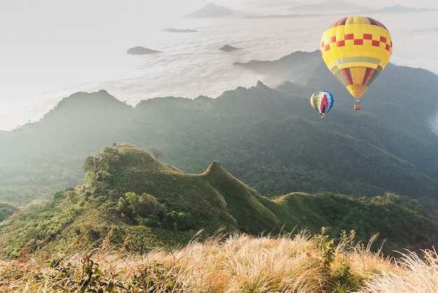 Ballon, sur, brouillard, et, nuage, montagne, paysage, vallée