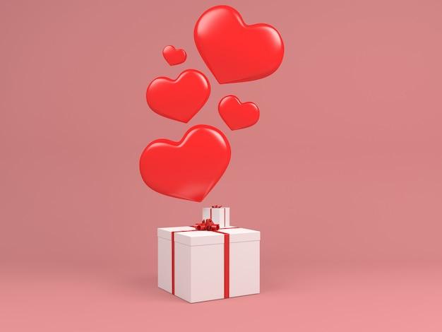 Ballon coeur voler dans l'air gif boîte blanche concept rose pastel fond minimal