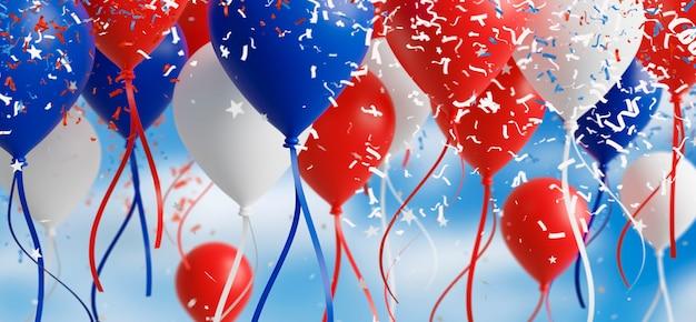 Ballon avec des confettis tombant sur fond de ciel rendu 3d
