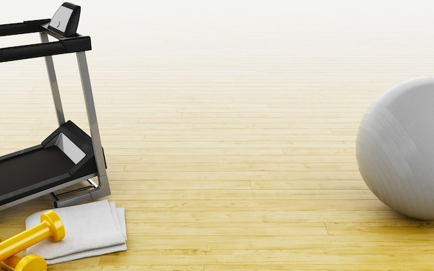 Ballon de fitness 3d, poids, tapis roulant et serviette.