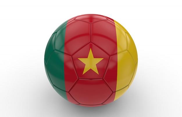 Ballon de foot avec drapeau camerounais