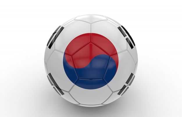 Ballon de foot avec drapeau de la corée du sud