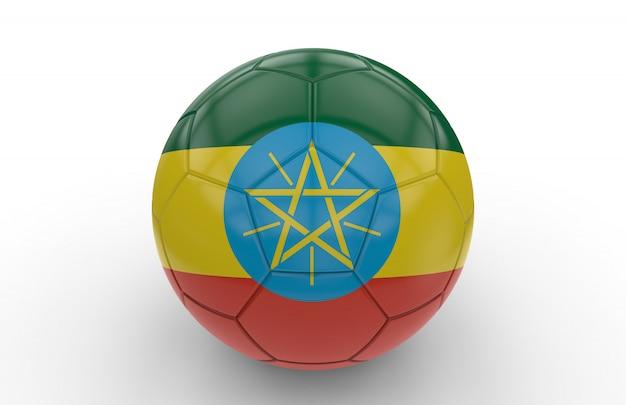 Ballon de foot avec drapeau de l'ethiopie