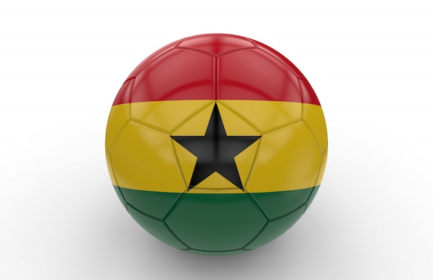 Ballon de foot avec drapeau ghanéen
