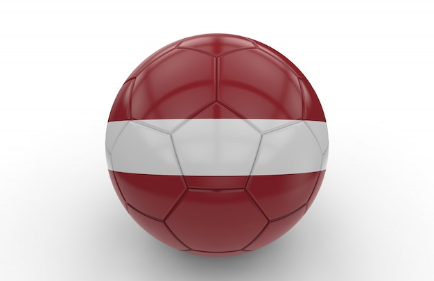 Ballon de foot avec drapeau letton