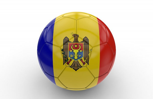 Ballon de foot avec drapeau moldave