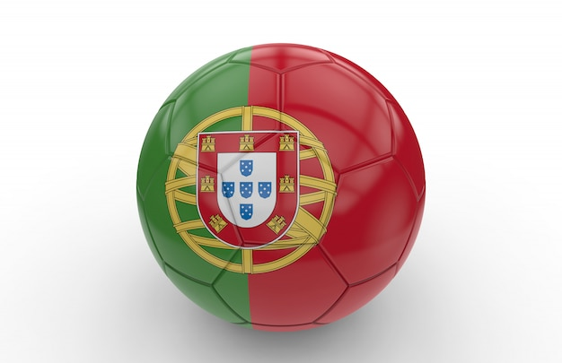 Ballon de foot avec drapeau portugais