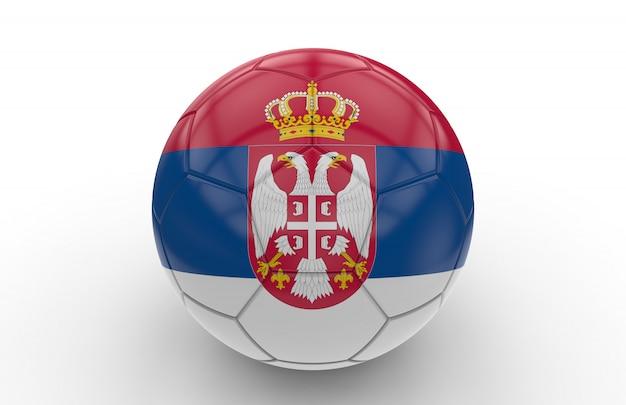 Ballon de foot avec drapeau serbe