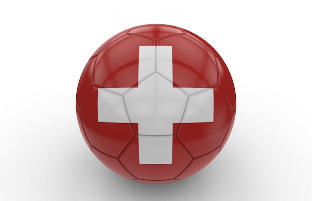 Ballon de foot avec drapeau suisse