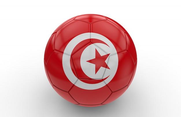 Ballon de foot avec drapeau tunisien