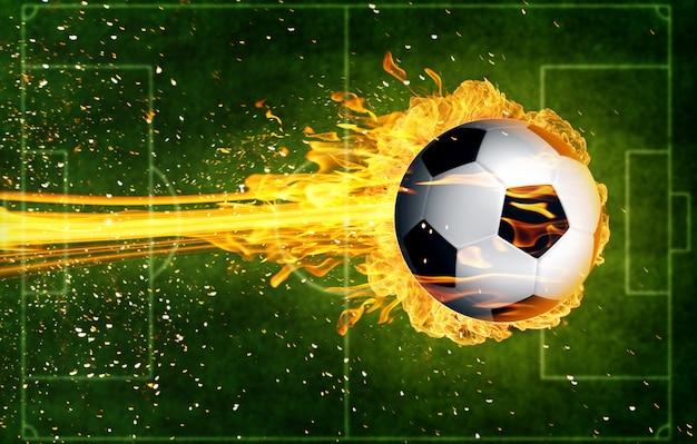 Ballon de foot en flammes de feu