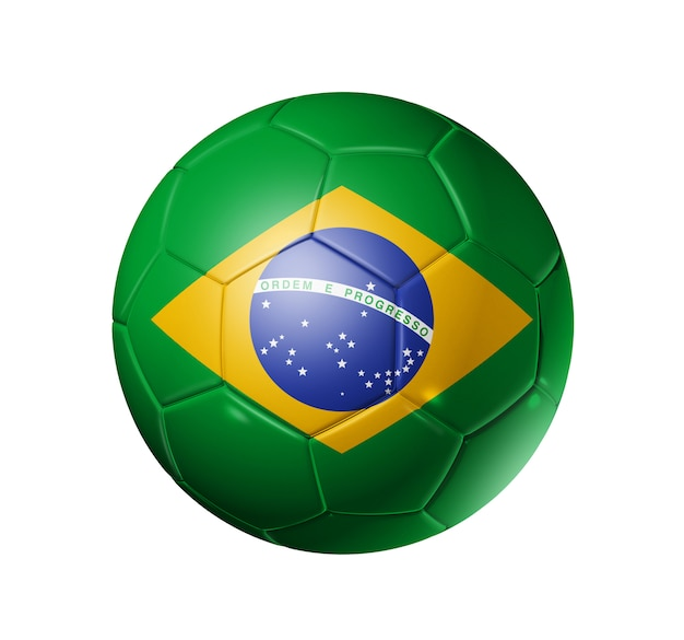 Ballon de football 3d avec drapeau du brésil, coupe du monde de football. isolé sur blanc avec un tracé de détourage