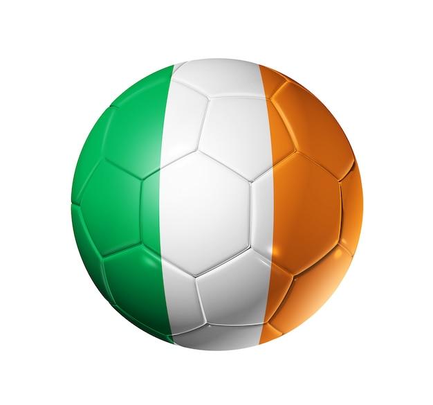 Ballon de football 3d avec drapeau de l'équipe d'irlande. isolé