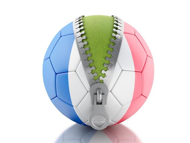 Ballon de football 3d avec drapeau de la france