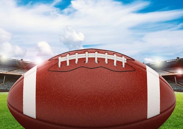 Ballon de football américain de rendu 3d sur champ vert avec ciel bleu