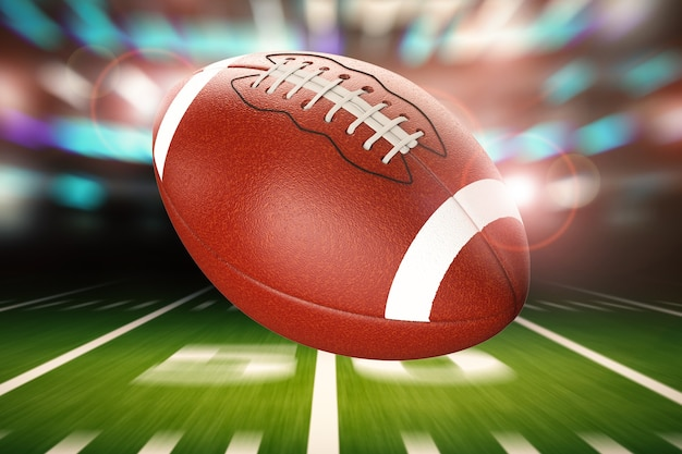 Ballon de football américain de rendu 3d avec fond de mouvement