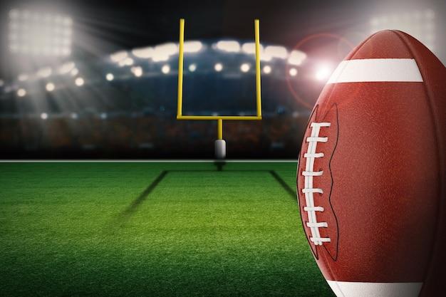 Ballon de football américain de rendu 3d avec poteau de but sur le terrain