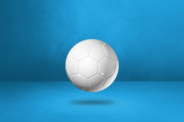Ballon de football blanc sur fond bleu. illustration 3d