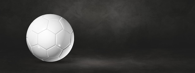 Ballon de football blanc sur fond noir. illustration 3d