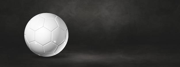 Ballon De Football Blanc Sur Fond Noir. Illustration 3d Photo Premium