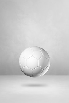 Ballon de football blanc isolé sur un fond de studio vide. illustration 3d