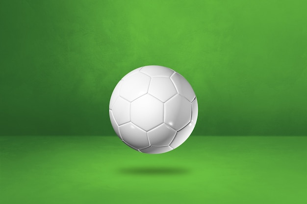 Ballon de football blanc isolé sur fond vert studio. illustration 3d