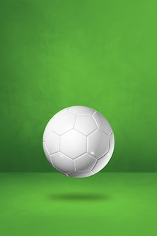 Ballon De Football Blanc Isolé Sur Fond Vert Studio. Photo Premium