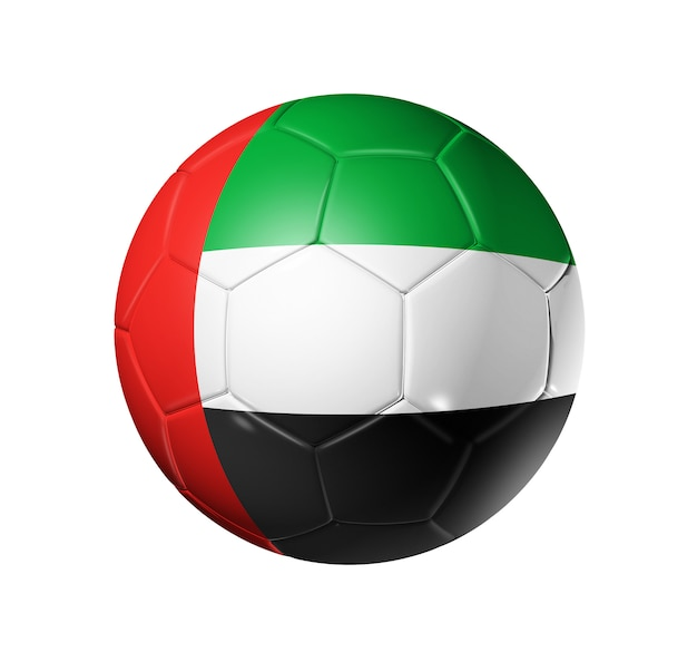 Ballon de football avec le drapeau des émirats arabes unis - ballon de football 3d avec le drapeau de l'équipe des émirats arabes unis. isolé