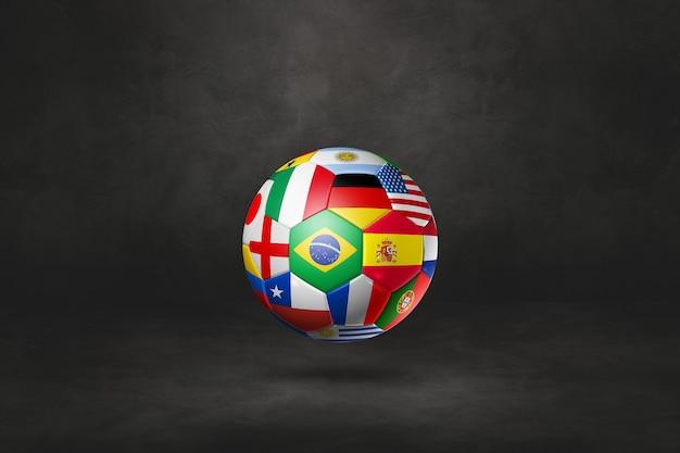 Ballon de football de football avec des drapeaux nationaux sur fond noir. illustration 3d