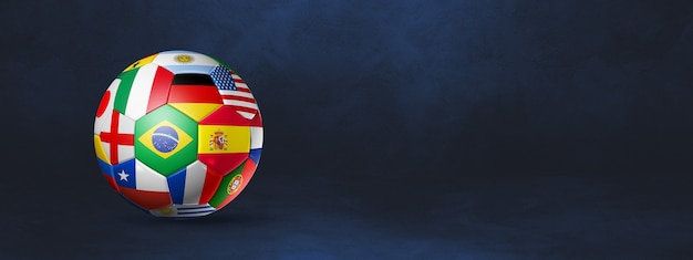 Ballon de football de football avec des drapeaux nationaux isolés sur une bannière de studio bleu foncé. illustration 3d