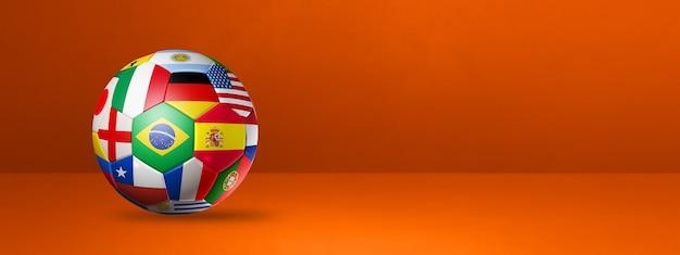 Ballon de football de football avec des drapeaux nationaux isolés sur une bannière de studio orange. illustration 3d