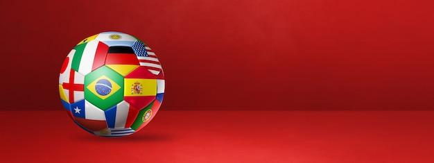 Ballon de football de football avec des drapeaux nationaux isolés sur une bannière de studio rouge. illustration 3d
